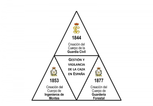 """El siglo XIX supone la aparición de los primeros """"Cuerpos"""" dedicados a la gestión, vigilancia y control de la actividad cinegética en España."""